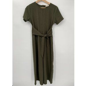 Story Short Sleeves Tie Back Jumpsuit Green Size S
